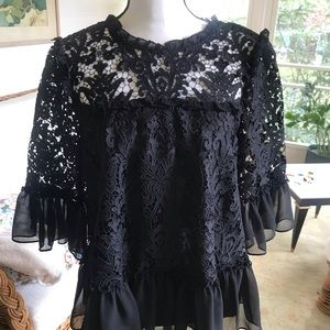 Kate Spade Black Lace blouse Large